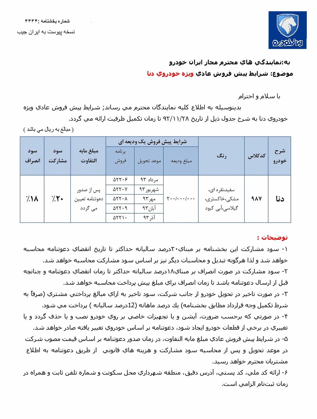 قیمت خودرو دنا در نمایندگی