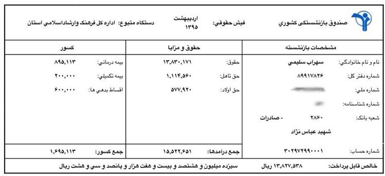 فیش حقوقی مدیران فیش حقوقی دولتی ها بیوگرافی سهراب سلیمی بیوگرافی رحمت امینی بیوگرافی پریسا مقتدی