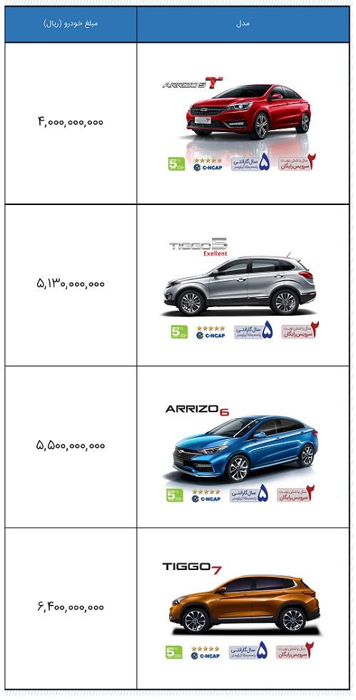 لیست قیمت جدید محصولات چری شرکت مدیران خودرو