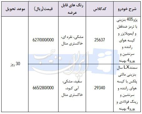 فروش فوری محصولات ایران خودرو ویژه 22 اسفند با مدل 98