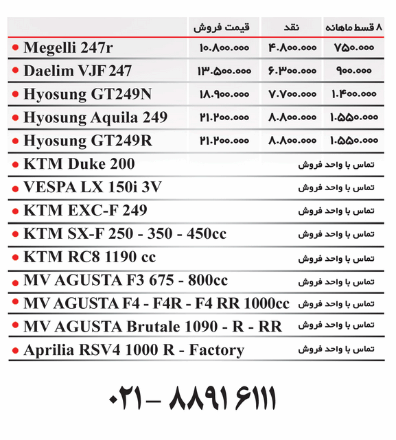 قیمت موتور سنگین در ایران