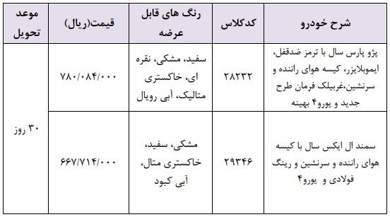 طرح فروش فوری محصولات ایران خودرو ویژه 28 اردیبهشت 98