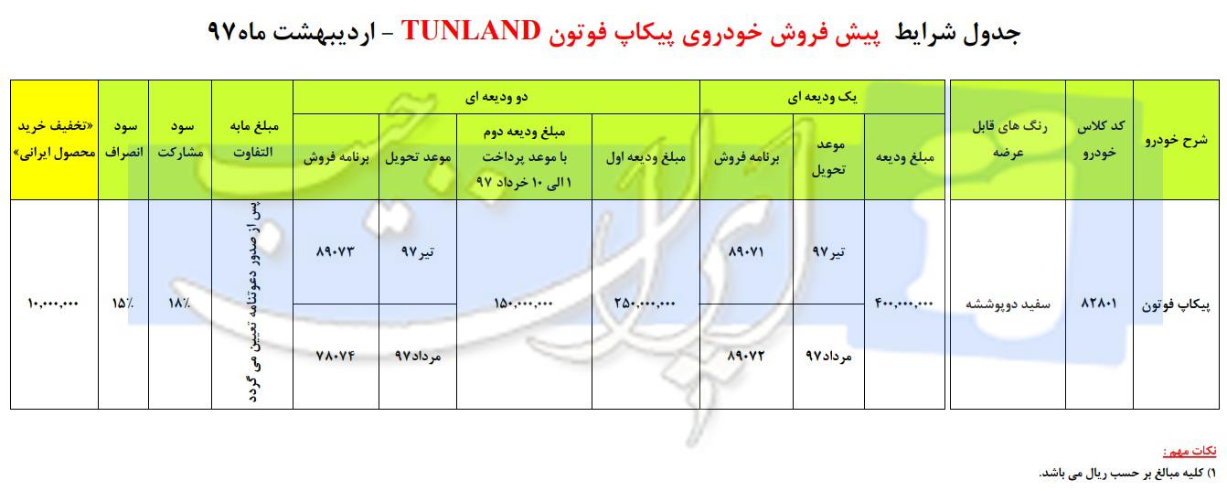 طرح جدید پیشفروش پیکاپ فوتون شرکت ایران خودرو