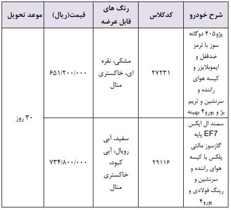 فروش فوری محصولات ایران خودرو ویژه 25 اسفند با مدل 98