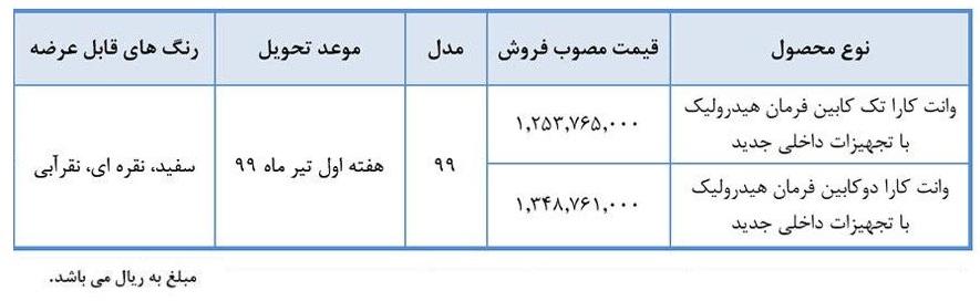 طرح جدید فروش نقدی وانت کارا 2000 - خرداد 99